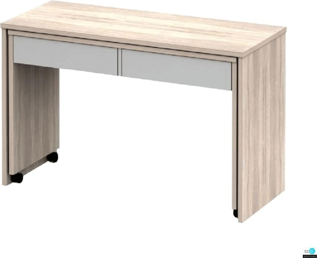 Nyitható PC asztal fiókokkal, tölgy sonoma/fehér, VERSAL NEW