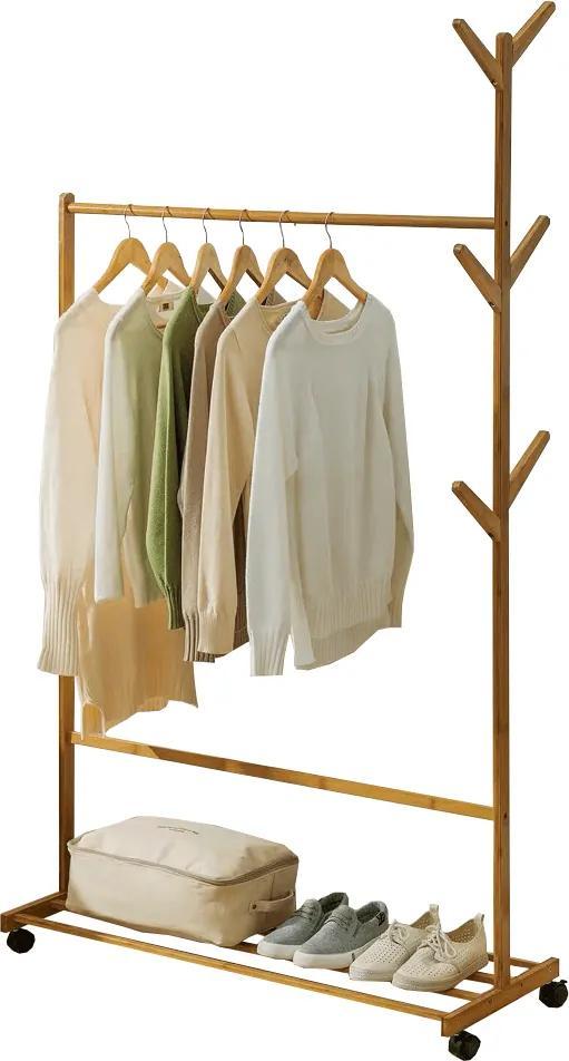 Kerekes akasztó, bambus, 100 cm széles, VIKIR TYP 3