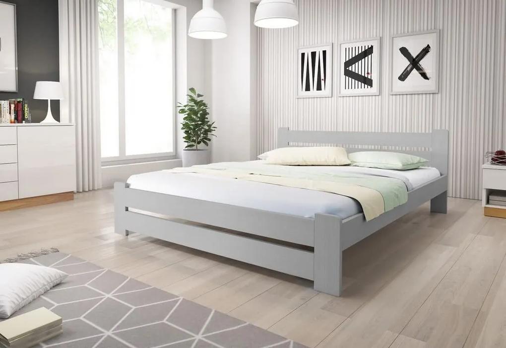HEUREKA tömörfa ágy + AJÁNDÉK ágyrács, 120x200 cm, szürke