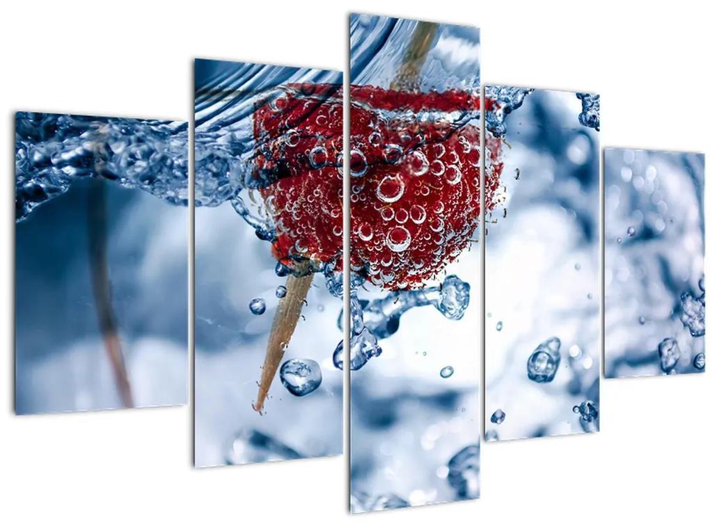 Kép - málna részlete a vízben (150x105 cm)