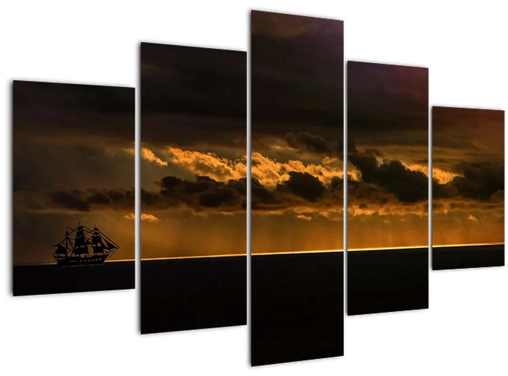 Egy vitorlás naplementekor képe (150x105 cm)