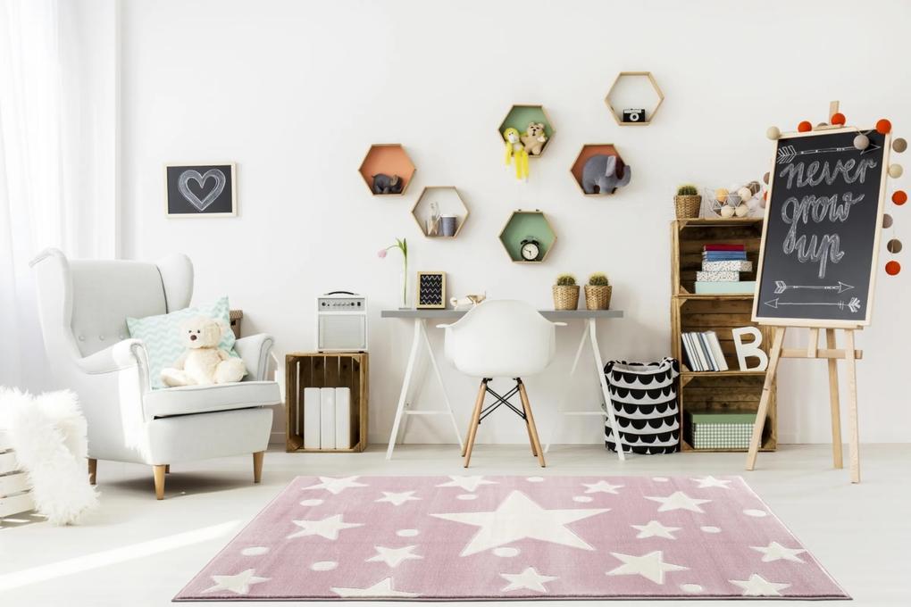 ESTRELLA gyerekszõnyeg rózsaszín – fehér csillagokkal