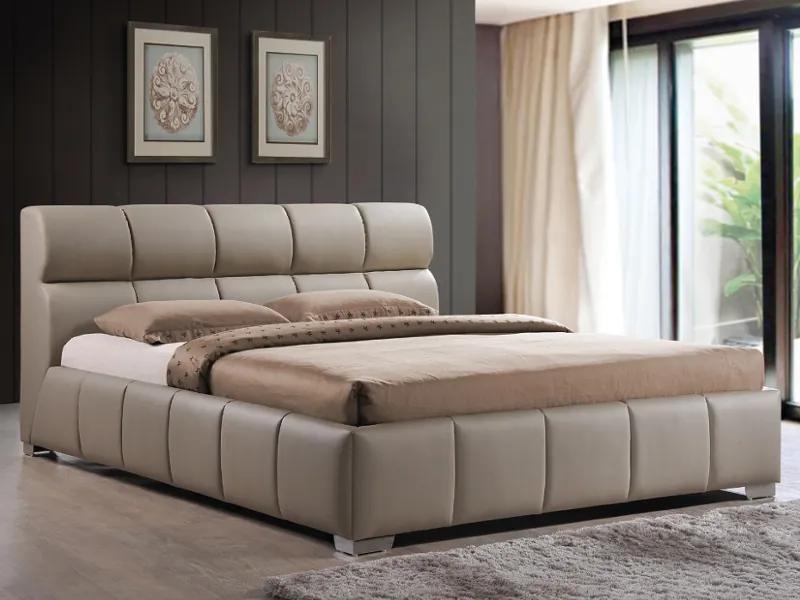 Kárpitozott ágy BOLONIA 160 x 200 cm cappucino/króm
