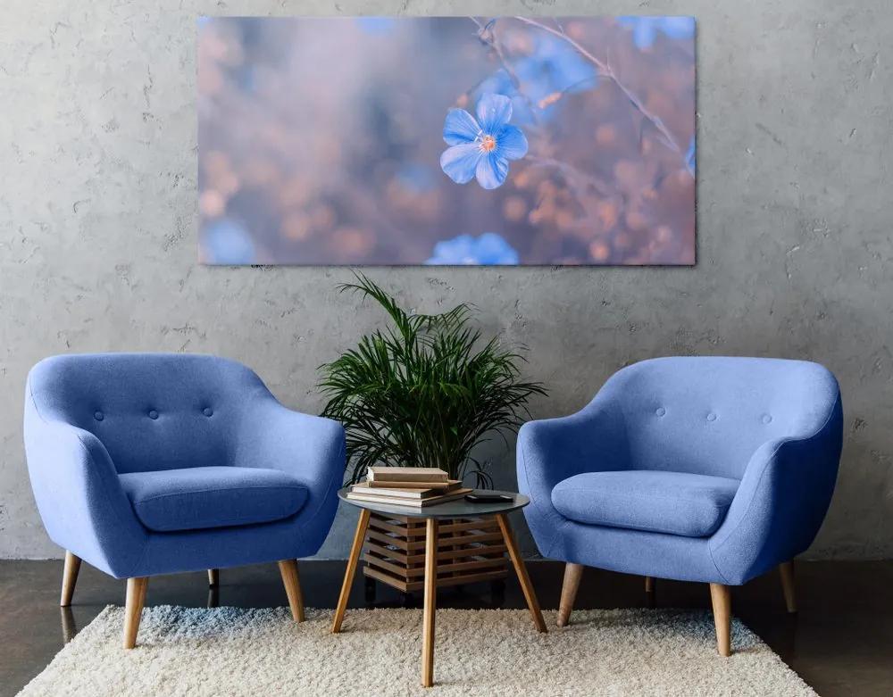 Kép kék virágok vintage háttéren