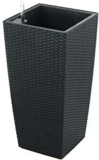 G21 Linea rattan önöntöző kaspó, 55 cm, fekete - (63924530)