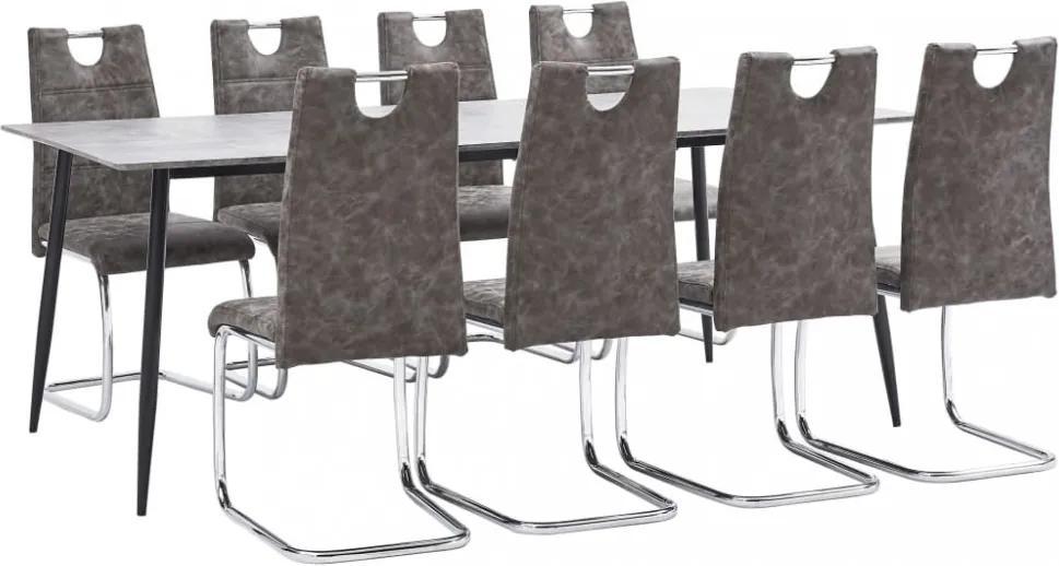 9-részes barna műbőr étkezőgarnitúra