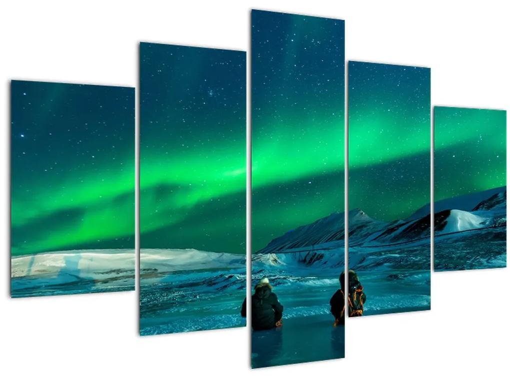 Emberek és az északi fény képe (150x105 cm)