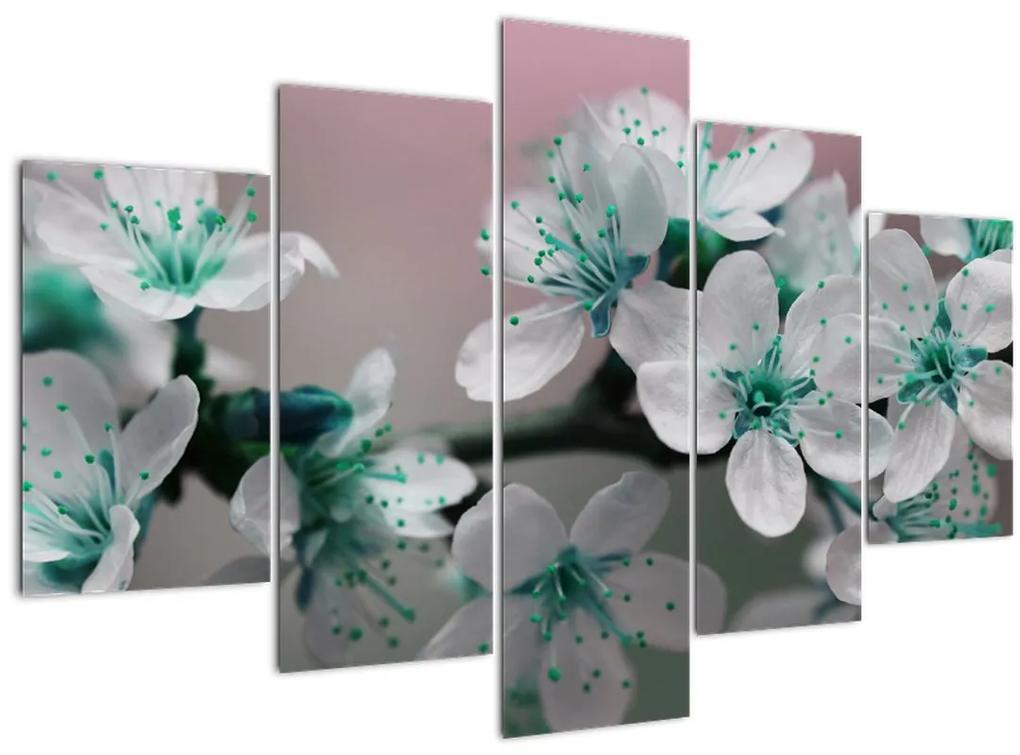 Virágos kép - türkiz (150x105 cm)