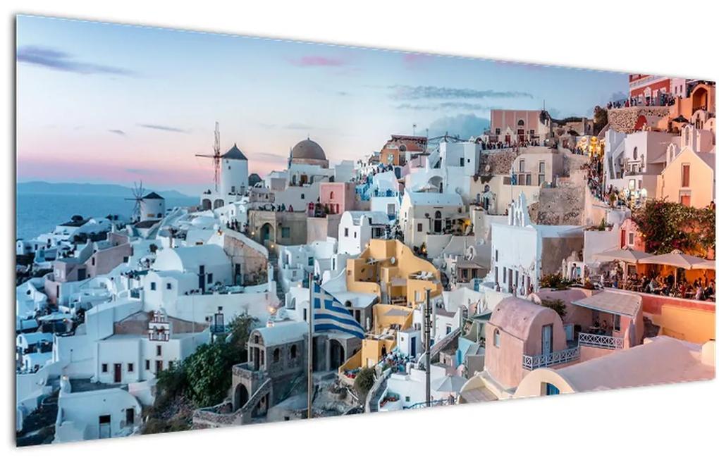 Kép - Alkonyat Santoriniban (120x50 cm)