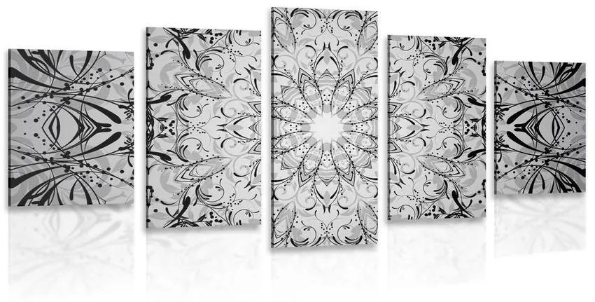 5 részes kép rozetta fekete fehérben