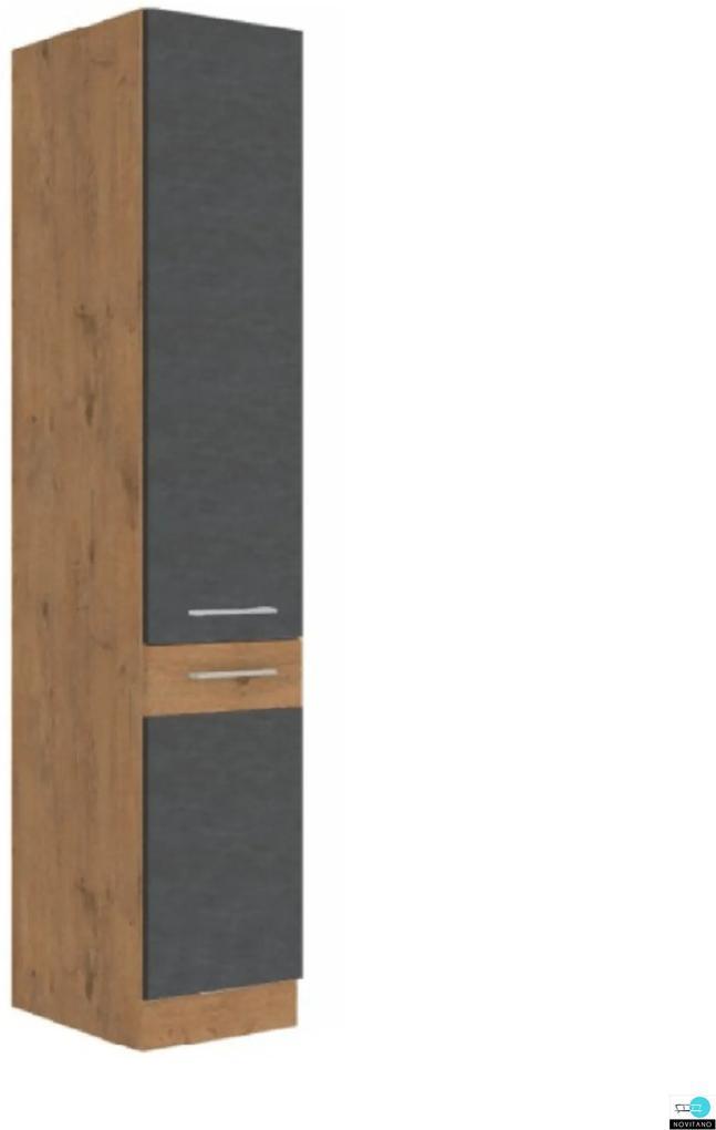 Magas szekrény, szürke matt/tölgy lancelot, VEGA 40 DK-210 2F