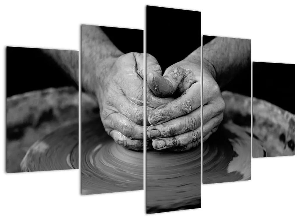 Fekete-fehér kép - kerámia gyártás (150x105 cm)