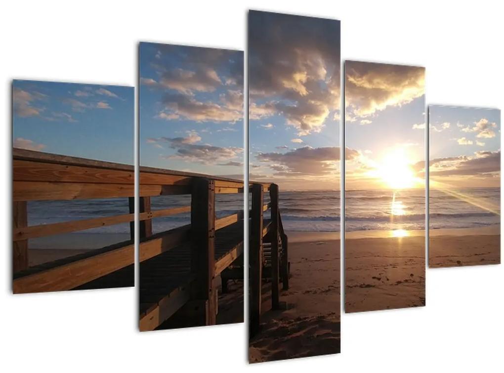 A móló, a strand és a tenger képe (150x105 cm)