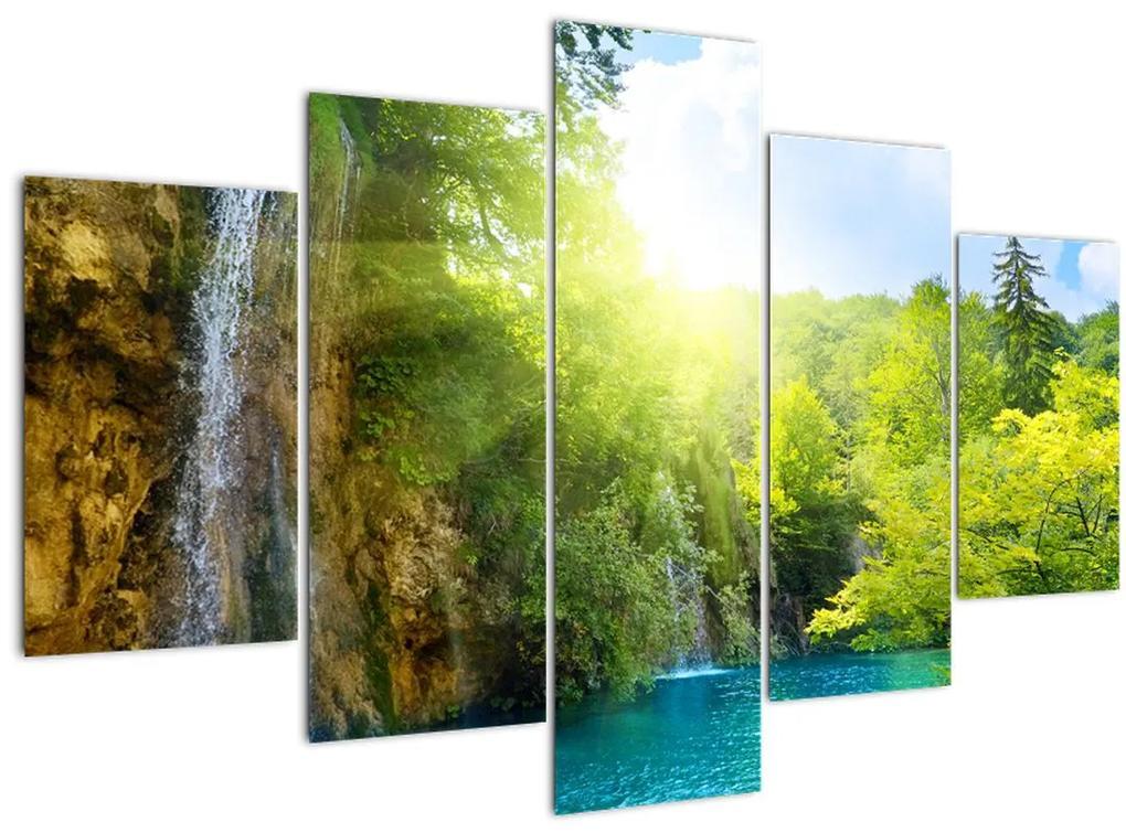 Kép - vízesések az erdőben (150x105 cm)
