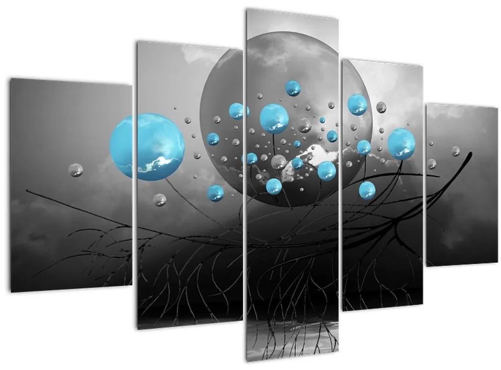 Kép- világos kék absztrakt gömbök (150x105 cm)