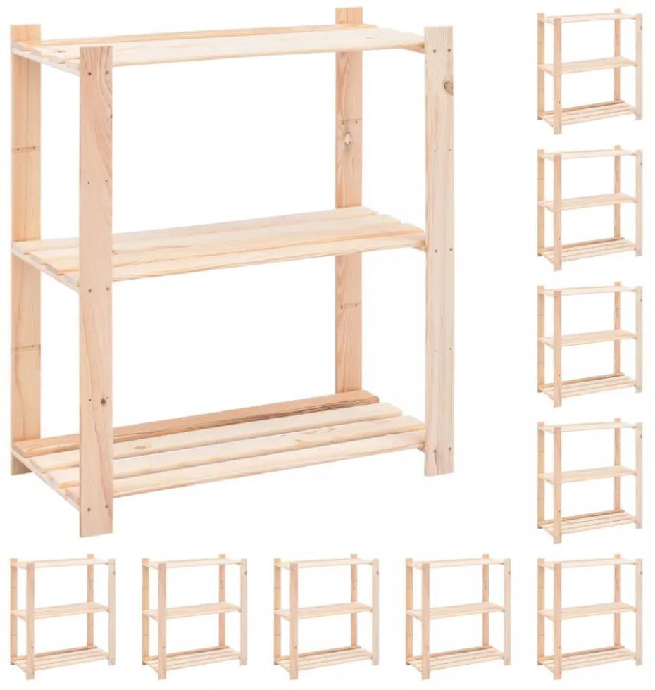 10 db 3-szintes tömör fenyőfa tárolópolc 150 kg 80 x 38 x 90 cm
