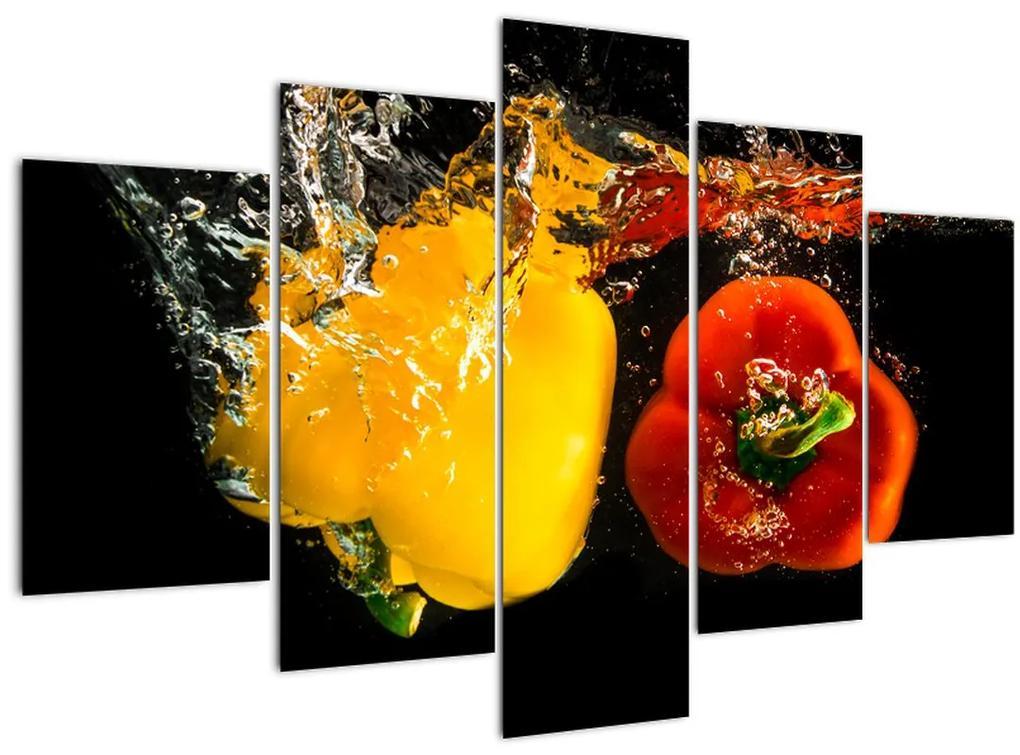 Kép - paprika a vízben (150x105 cm)