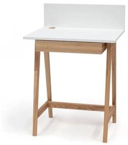 Luka fehér íróasztal kőrisfa lábakkal, hossz 65 cm - Ragaba