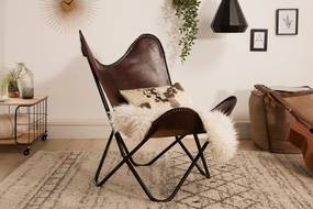 COWBOY design bőr fotel - barna/ fekete