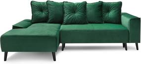 Hera Bis zöld bársony kinyitható kanapé, bal sarok - Bobochic Paris