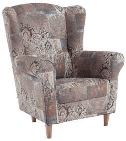 Füles fotel, szövet vintage barna, CHARLOT