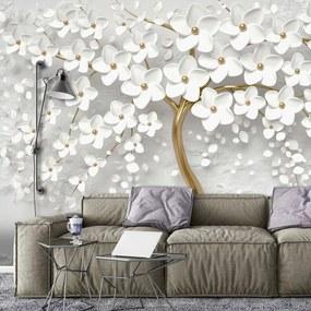 Fotótapéta - Fa és fehér virágok (254x184 cm)