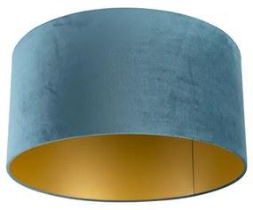 Velúr lámpaernyő kék 50/50/25, arany belsővel
