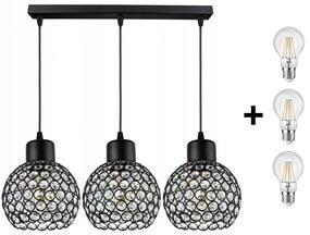 Crystal Ball állítható függőlámpa fekete 3x E27 + ajándék LED izzó