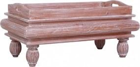 Barna tömör mahagóni dohányzóasztal 90 x 50 x 40 cm