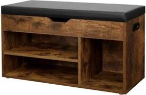 Cipőtároló pad párnázott üléssel 80x30x44 cm - vintage