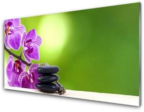 Akrilkép Orchideák zöld virágok 140x70 cm