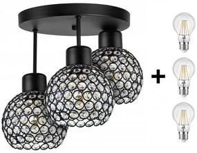 Crystal Ball mennyezeti lámpa fekete 3x E27 + ajándék LED izzó