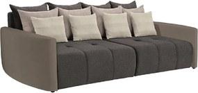 Stílusos nagy kanapé, taupe szürke-barna/világosbarna/krém, PORTO BIG SOFA