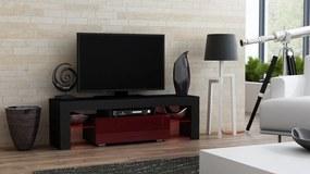 RTV Milano 130, fekete / burgund – TV-asztal