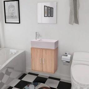 3 darabos fürdőszobabútor és mosdókagyló szett bézs