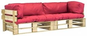 2 részes fsc fa raklap kerti ülőgarnitúra piros párnákkal