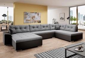 VERONA U alakú ülőgarnitúra, 344x81x163, malmo 90/fekete öko-bőr, jobb