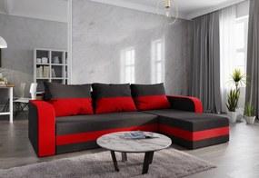 WELTA ágyazható sarok ülőgarnitúra, 237x85x140, fekete/piros, mikrofáze15/22