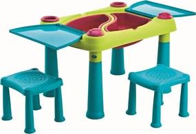 Keter Creative Play Table kreatív asztalka két  székkel , türkizkék/zöld