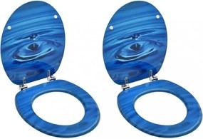 2 db kék vízcseppmintás mdf wc-ülőke fedéllel