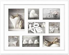 Malmo fehér képkeret 8 képhez, 51 x 41 cm - Styler