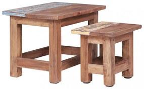 2 db tömör újrahasznosított fa egymásba tolható asztal