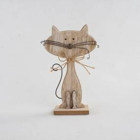 Cats macska alakú fa dekoráció, magasság 18 cm - Dakls