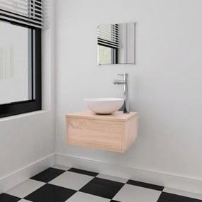 vidaXL Négyrészes fürdőszobabútor szett mosdótállal és csappal bézs