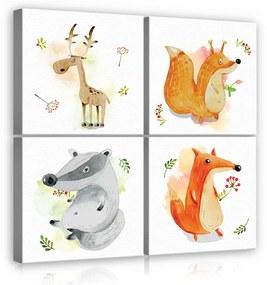 Vászonkép 4 darabos, Állatok 50x50 cm méretben