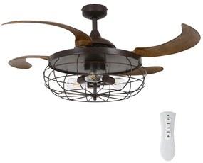 FANAWAY FANAWAY 212921 - LED Mennyezeti ventilátor INDUSTRI 3xE27/4W/230V barna FAN00164
