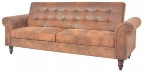 vidaXL ággyá alakítható barna műbőr kanapéágy kartámaszokkal
