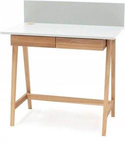 Luka fehér íróasztal kőrisfa lábakkal, hossz 85 cm - Ragaba