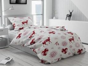 Karácsonyi flanel ágynemű Szívek és rénszarvas