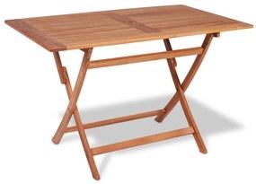 vidaXL tömör tíkfa összecsukható kerti asztal 120 x 70 x 75 cm